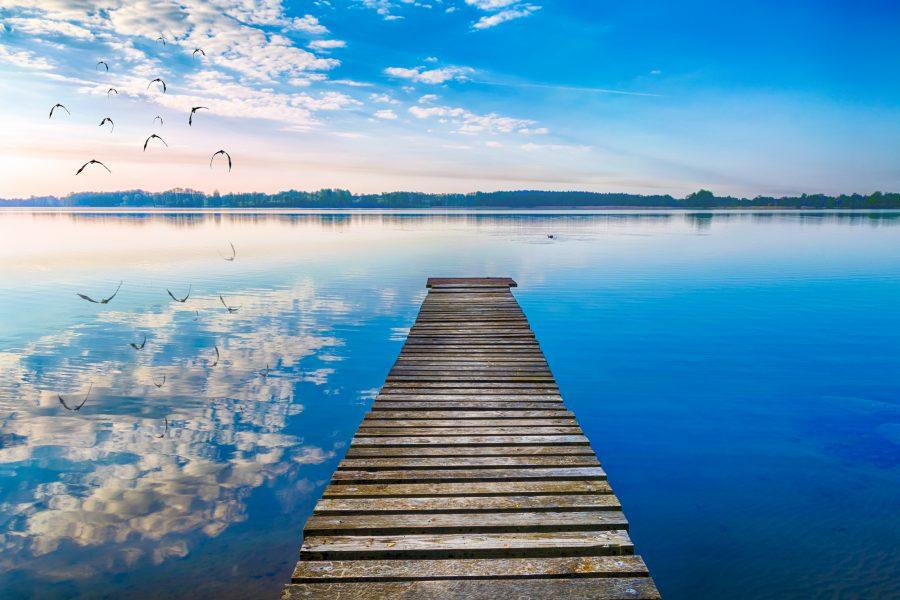 Mazury, pomost na jeziorze Selmęt Wielki