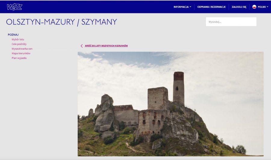 Zamek Olsztyn w warmińsko-mazurskiem wizz air