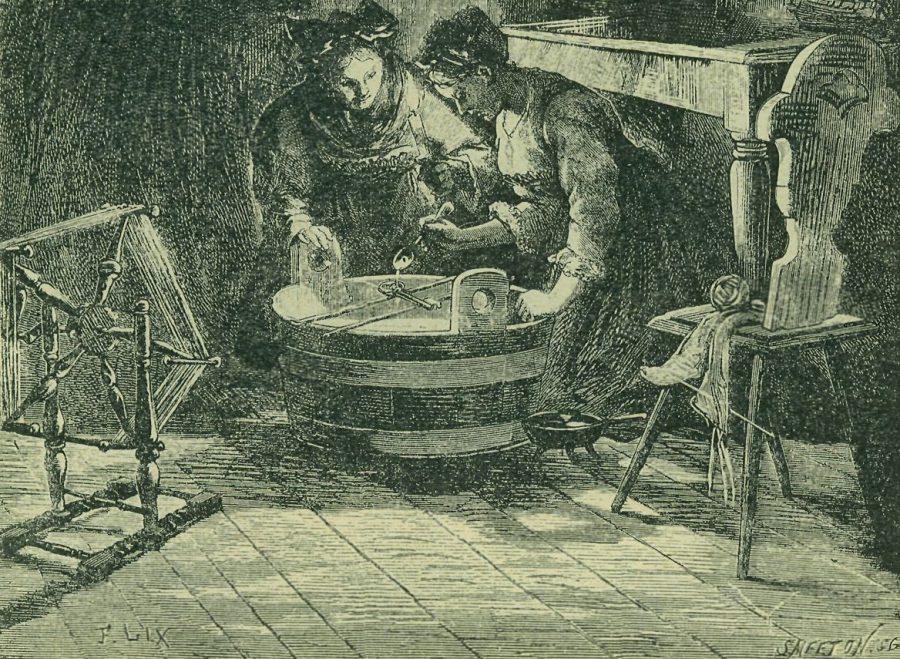 andrzejki Lanie ołowiu przez dziurkę od klucza fot. Svátek svatého Ondřeje wróżenie, Wikimedia Commons