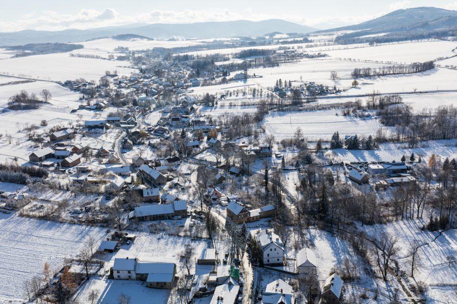 polska z drona zimą