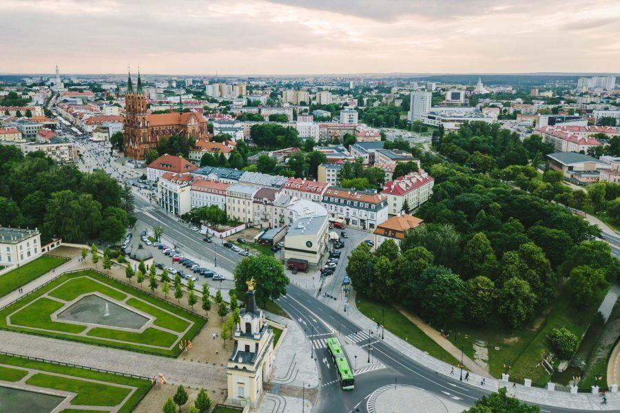 Białystok z drona atrakcje białegostoku