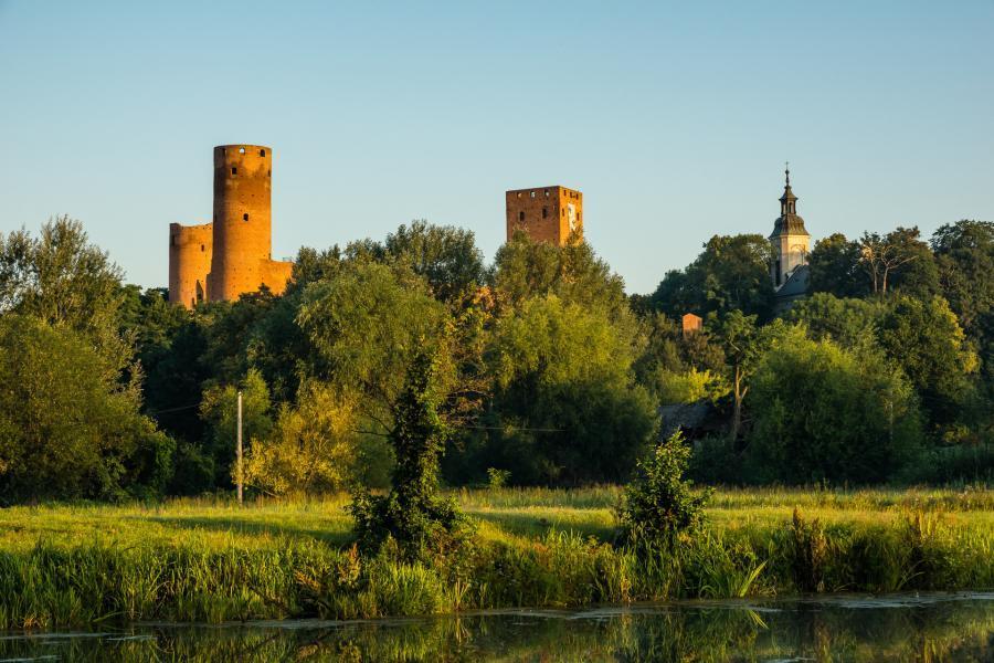 Zamek w Czersku wychyla się zza drzew