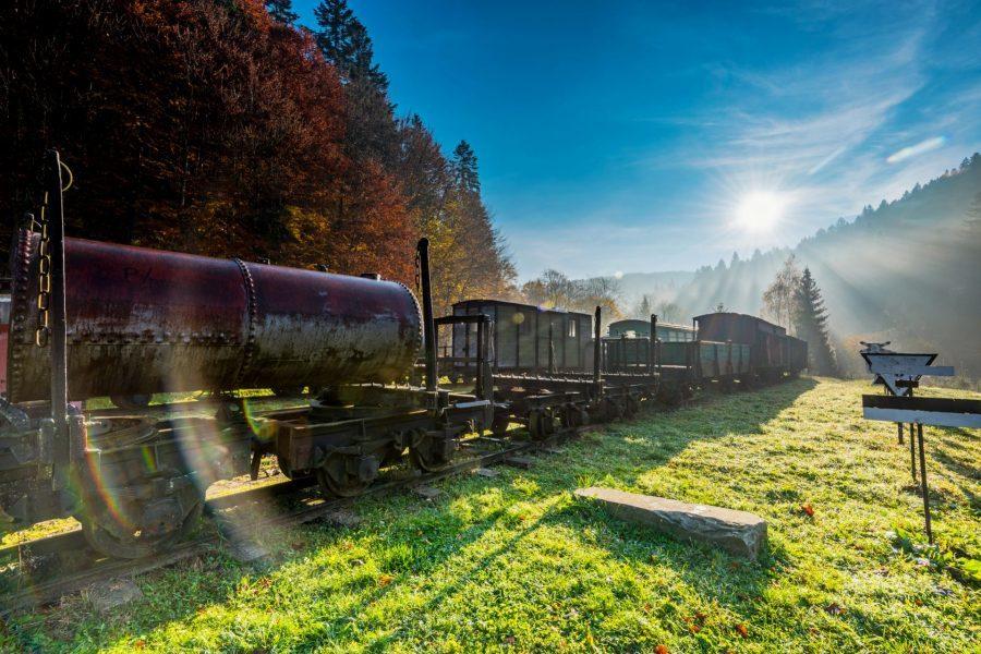 Pociągi bieszkadzkiej kolejki leśnej w pobliżu wsi Cisna i Majdan